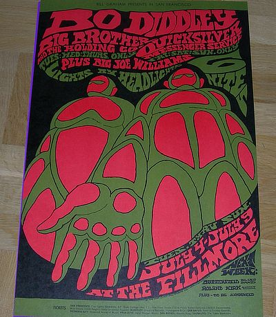 poster, Janis Joplin/ Big Brother / Quicksilver Messenger, Bill Graham presents at The Fillmore West
