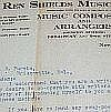 REN SHIELDS Letter and hand written lyrics signed REN SHIELDS MUSIC COMPANY