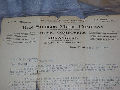 REN SHIELDS, Letter and hand written lyrics signed REN SHIELDS MUSIC COMPANY