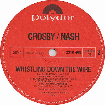Crosby / Nash, Whistling Down The Wire