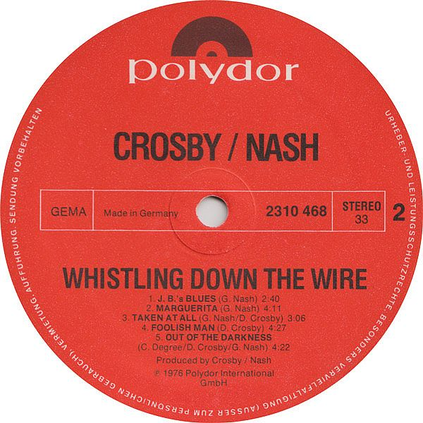 LP, Crosby / Nash, Whistling Down The Wire