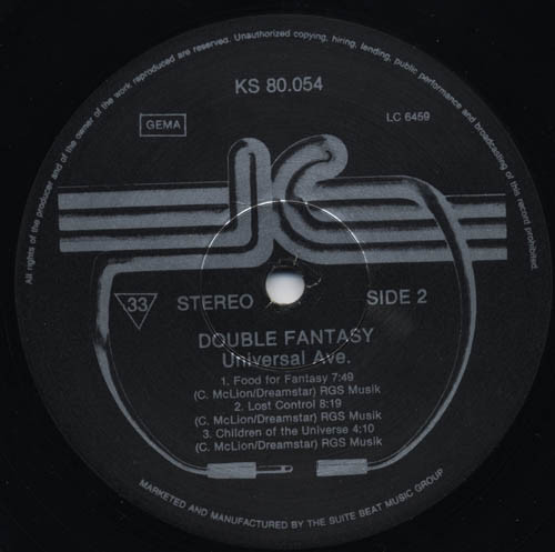 LP, Double Fantasy, Universal Ave. 1986