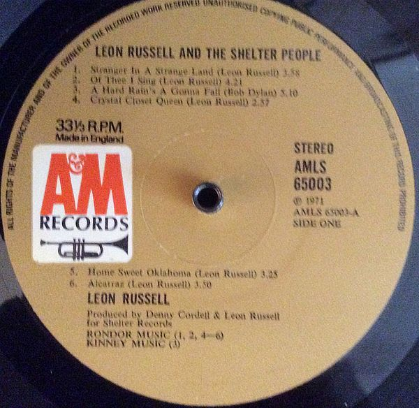 LP, Leon Russell, Leon Russell And The Shelter People 1971
