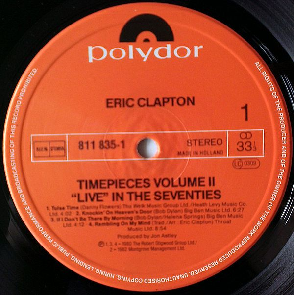 LP, Eric Clapton, Timepieces Vol. II -