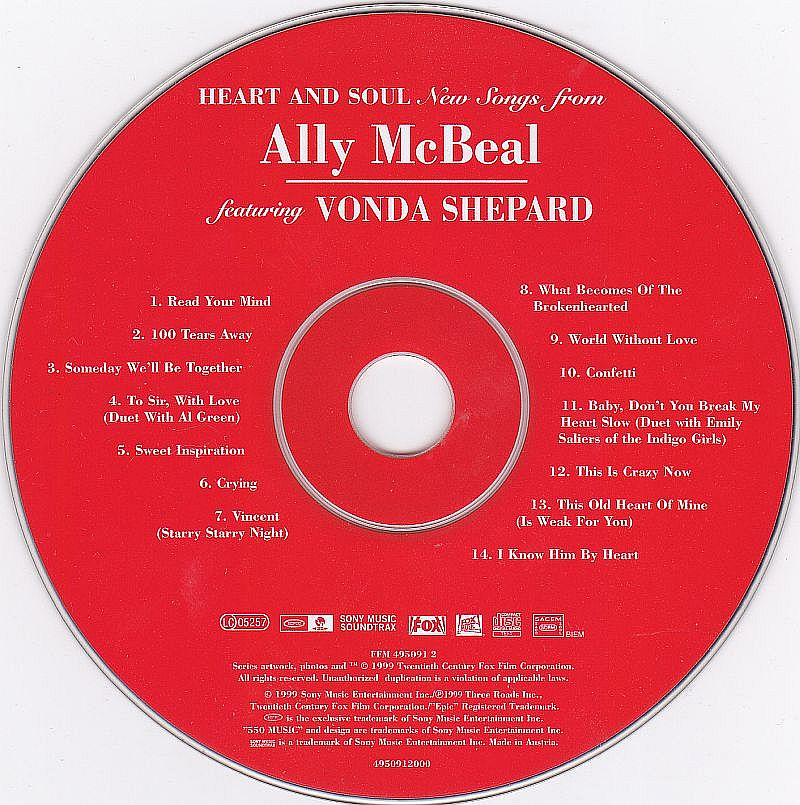 CD, Vonda Shepard, Heart and soul New songs from Ally McBeal 1999
