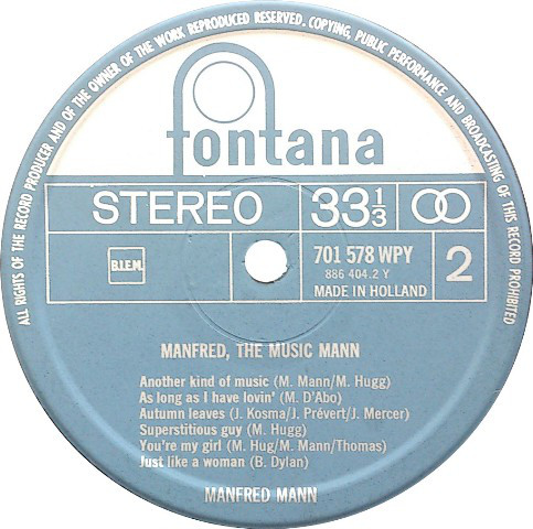 LP, Manfred Mann, Manfred The Musicmann 1967
