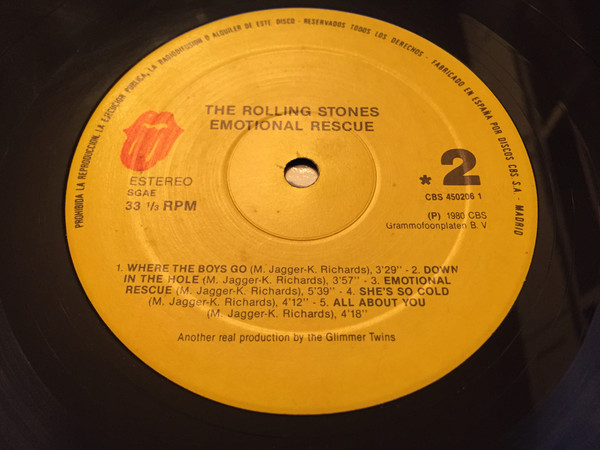 LP, Rolling Stones, Emotional Rescue 1987