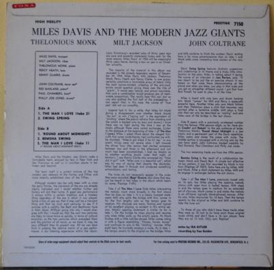 Miles Davis, Miles Davis and the modern jazz giants Metronome prestige 7150